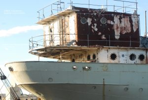 J B Ford at Azcon Scrap yard 2017 note some portholes removed.